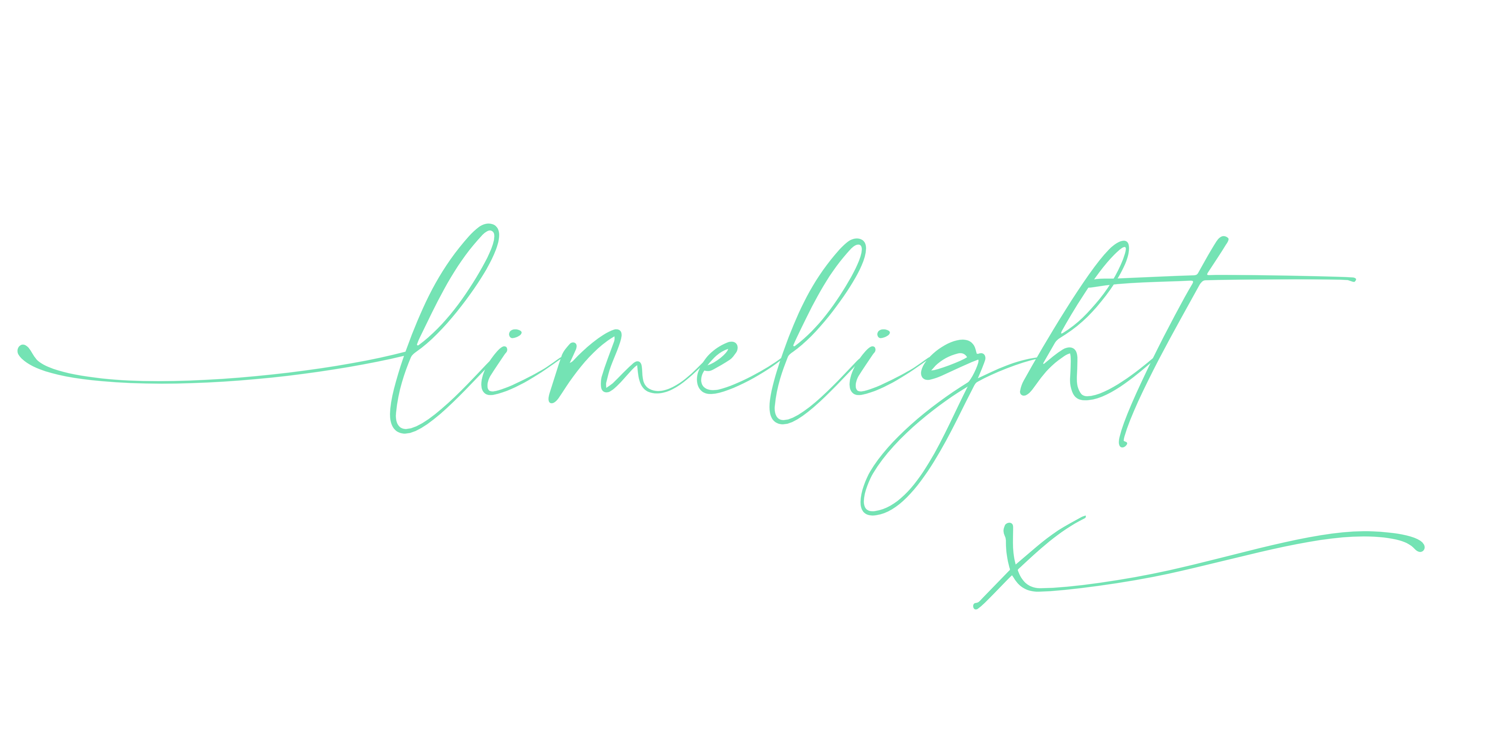 Logo of Limelight Copy & Creative in Mint Green to head up website homepage.